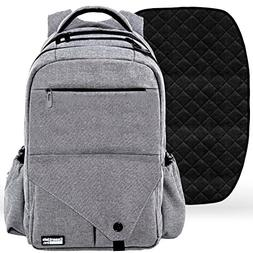 Diaper Bag Backpack with Stroller Straps, Baby Changing Mat