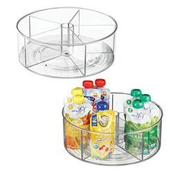 mDesign Divided Lazy Susan Turntable Storage Container for K