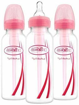Dr. Brown's Options Narrow Bottles, 3 Pack, 8 Ounce, Pink