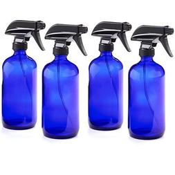 16oz Empty Cobalt Blue Glass Spray Bottles w/Labels and Caps