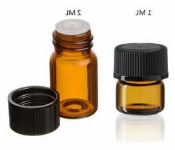 Essential Oil Amber Glass Vials w/orifice 1ml & 2ml size! Sa