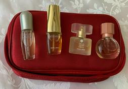 Estee Lauder Gift Set with 4 Bottles of Perfume in Red Satin