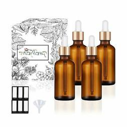 PrettyCare Eye Dropper Bottle 1 oz (4 Pack Amber Glass Bottl