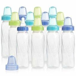 Evenflo Feeding Classic Twist Clear Bottles, Green/Blue/Oran