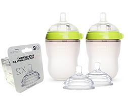 Comotomo Natural Feel Baby Bottle SET, Double Pack Green, 25