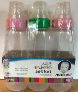 Gerber First Essentials Baby Bottles Clear Nurser 9 oz 3 Pac
