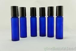 Frosted Cobalt Blue Glass Roll On Bottle Sets 10ml 1/3 Oz Pl