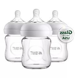 Glass baby bottle set slow flow newborn + natural latch 4oz