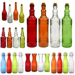 Glass Bottles Colorful Vintage with Cork Tops  or Flip-Top M
