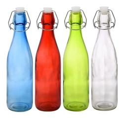 Glass Bottles Colorful with Flip-Top Metal Clasps