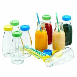 Hayley Cherie - 10oz Glass Milk Bottles with Colorful Leak P