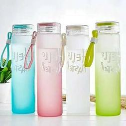 Glass portable Water Bottle Color Drinking Tube Slender Drin