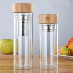 Glass Water Bottles For Tea With Infuser Bamboo Lid Double W