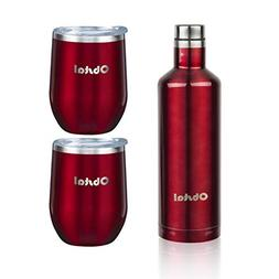 Obstal Insulated Wine Growler & 2 Wine Tumblers Set - Stainl