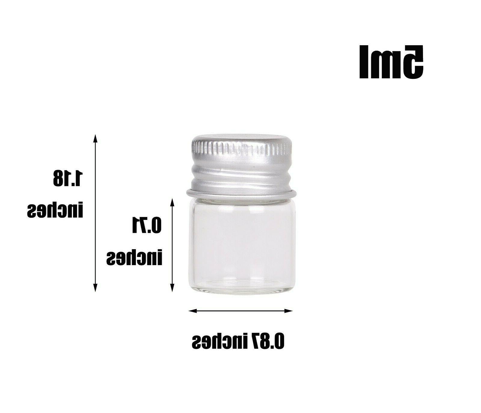 100pcs Tiny Vials 5ml Small Bottles Mini Jars with Lids