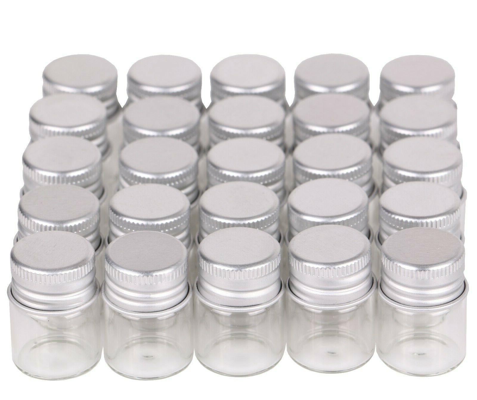 100pcs 5ml Small Glass Bottles Jars with Screw Lids Top