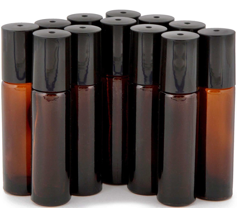 12 Amber, ml Roll-on Bottles , Steel Roller +