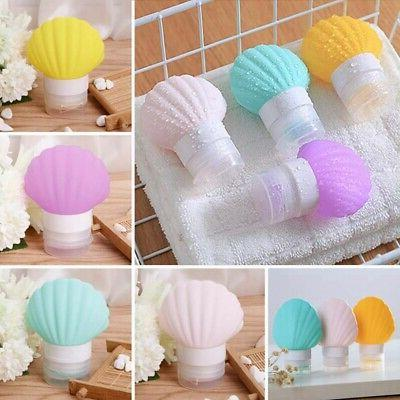 3X(5 Sea-Shell Silicone Travel-Bottles For Lotion