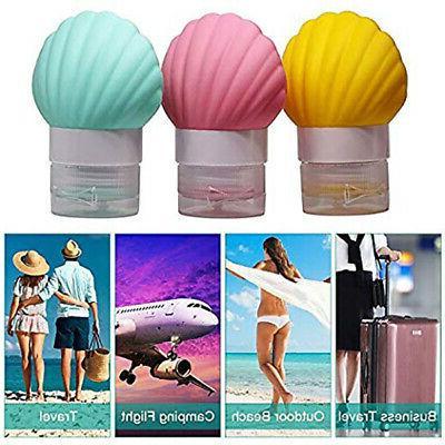 3X(5 Silicone Travel-Bottles Shampoo Lotion