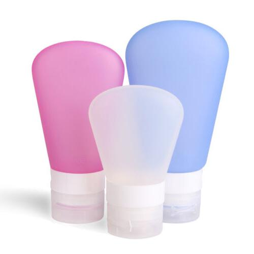 6 squeezable silicone packing travel press bottles