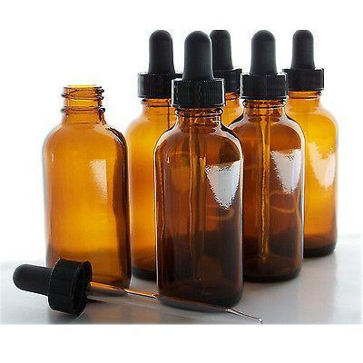 6pc 2oz amber glass bottles glasseye dropper