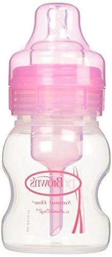 Dr. Brown's 4oz. Wide Neck Bottles in Pink, 2-pack