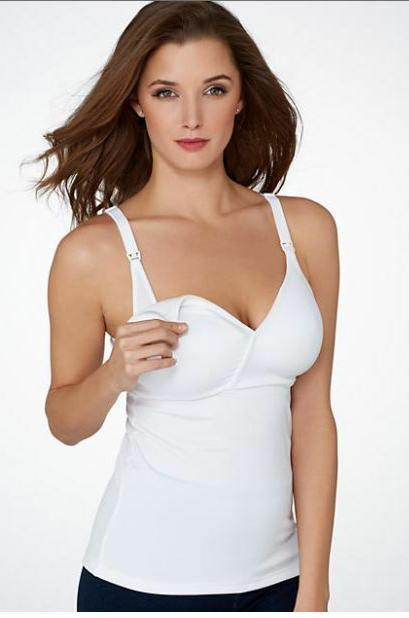 New Small White Nursing XTemp Camisole With Built in Bra by