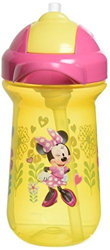 The First Years Baby Minnie Mouse Flip Top Straw Cup, 10 oz,