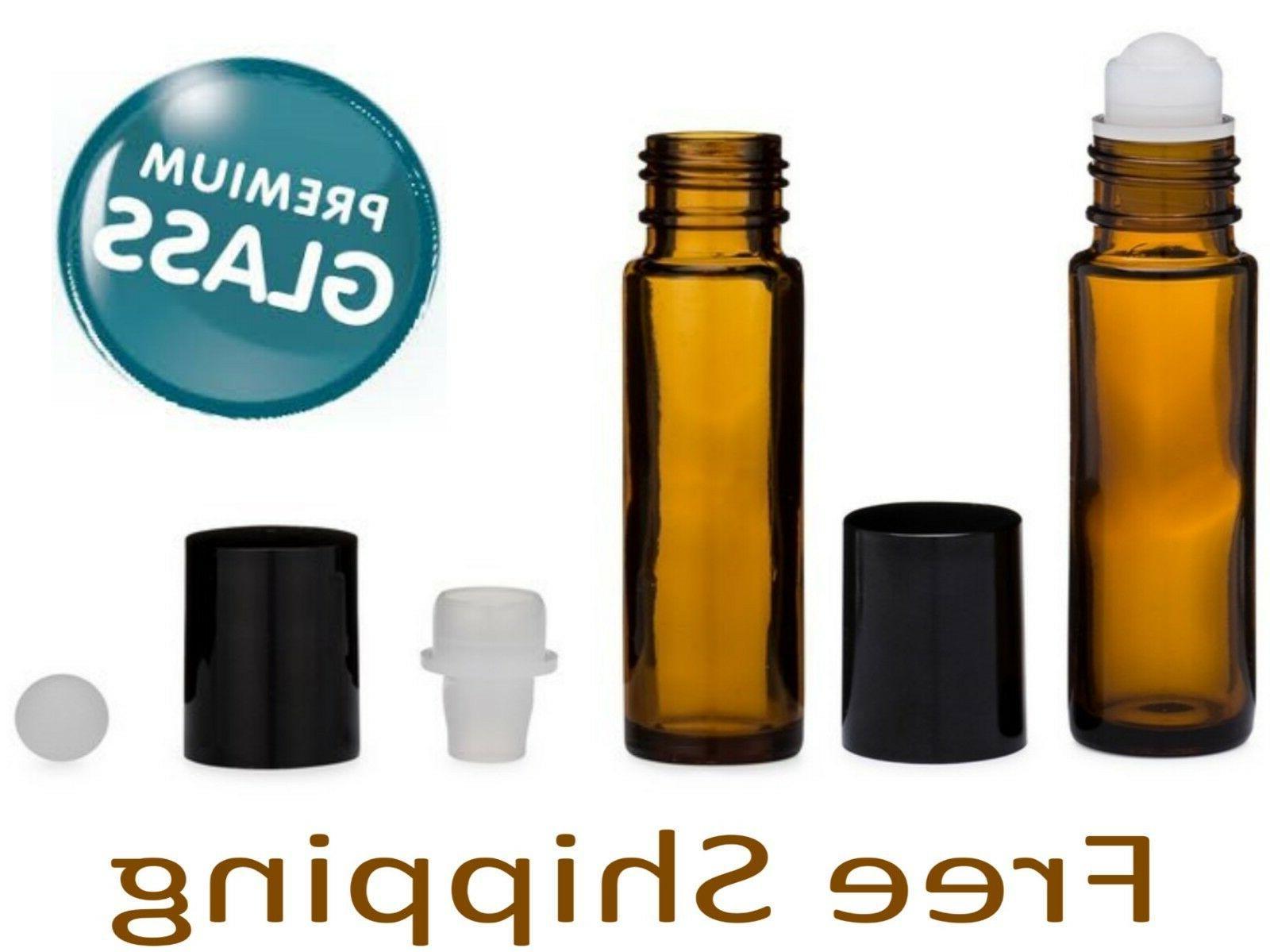 Essential Oil Amber Glass Roll on Roller Bottles 10ml Empty