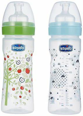 bi pack blue and green feeding bottle