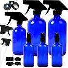 6 Pack Empty Cobalt Blue Glass Spray Bottles Refillable Cont