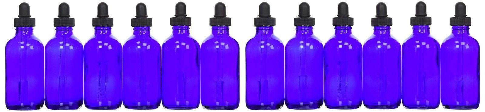 4 pack 4oz cobalt blue glass bottles
