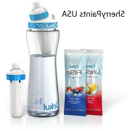 infuser bottle and two flavor cartridges fruit
