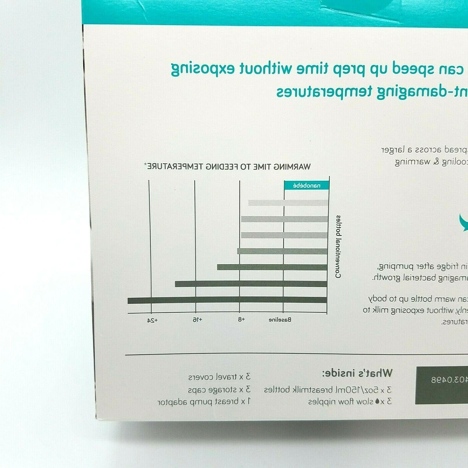 Nanobebe Bottles 0m+ Newborn 5oz/150ml White/Teal 3