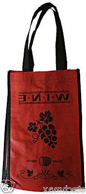Reuseable Red Wine Bottle Carry Bag with 2 Sections