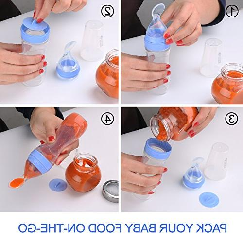 Baby Mate Silicone Food Spoon - Squeeze Feeder with Bottle for - Baby