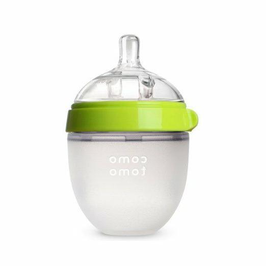 Comotomo Slow Flow BPA Free Baby Bottle Green 5 Ounce 1-Coun
