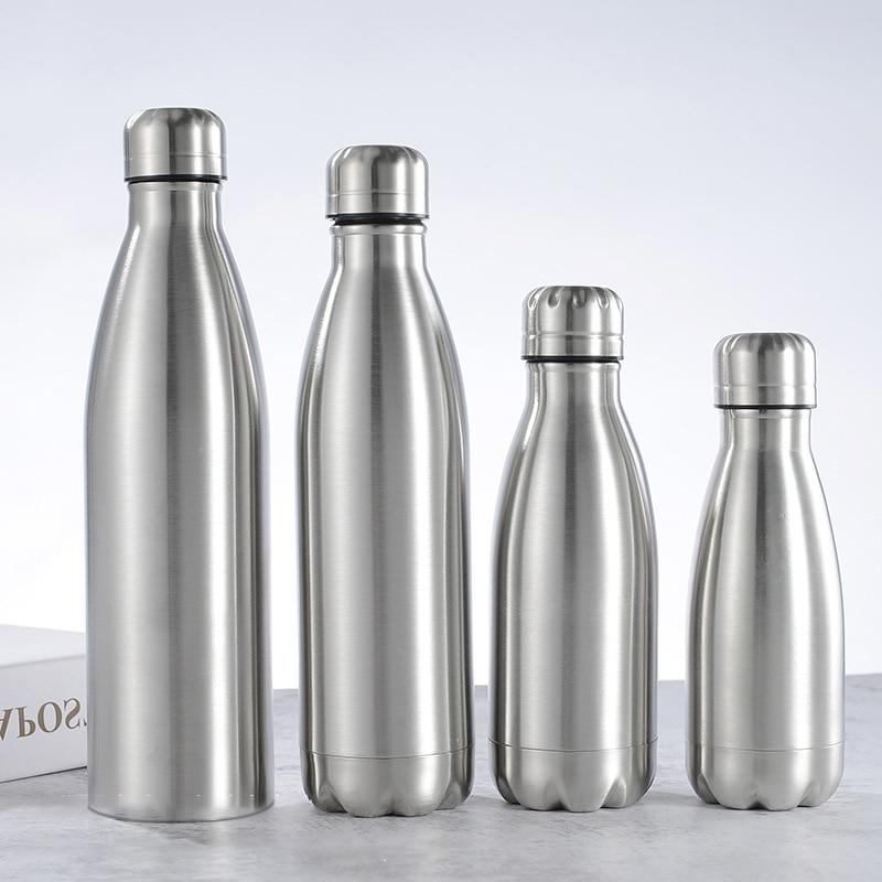 Stainless Steel Sports <font><b>Bottle</b></font> Insulated Vacuum Flask Wall Hot Cold Water Cola 350/500/750/1000ml