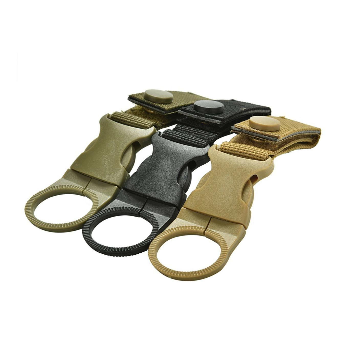 Khaki Tactical MOLLE Webbing Strap Clip Water Drink Bottle Holder For Waist Belt