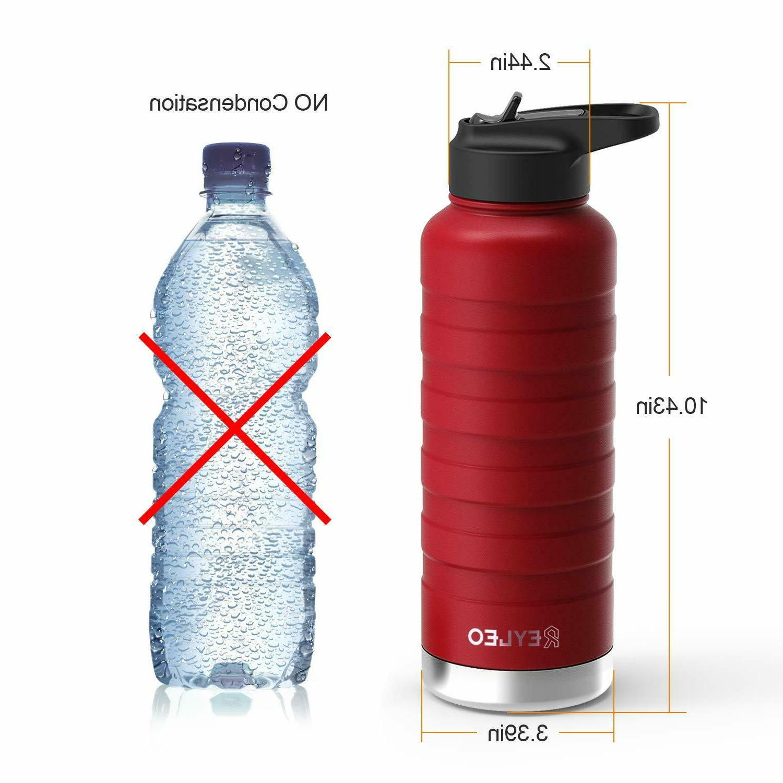 REYLEO Bottle Straw Lid- 24 Oz Black, Lids, Stainless Steel