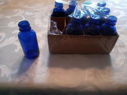 "LOT OF 10 MINI COBALT BLUE GLASS BOTTLES  3"" TALL NEW!"
