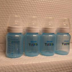 Lot of 4 Philips Avent Blue Baby Bottles 9oz with  2m Nipple