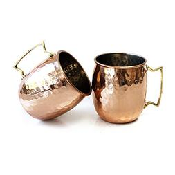 Moscow Mule Hammered Copper 18 Ounce Drinking Mug, Set of 2