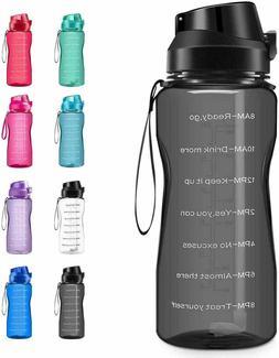 Motivational Water Bottle 2.2L/64oz Half Gallon Jug with Str