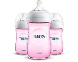 Philips Avent Natural Baby Bottle, Pink, 9oz-3pk, SCF013/38