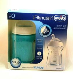 Chicco NaturalFit Glass Baby Bottle 2 Pack 0m+ Slow Flow Ant