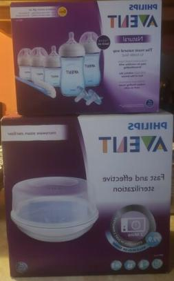 New! Philips Avent Baby Set! Sterilizer AND Natural Newborn