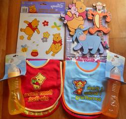 New Disney Baby Boy Winne The Pooh Tigger Bibs Bottles wall