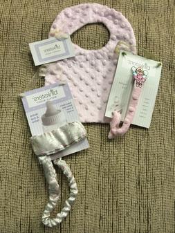 NEW Binksters Baby Gift Set-Pink Minky Dot Bib, Bottle Tethe