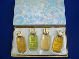 NIB 1950s Rare COTY Parfum de Toilette 4 Bottle GIFTSET Emer
